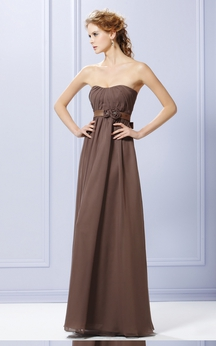 A-Line Layered Dress With Bow And Waist Flowers