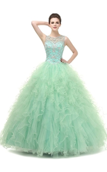 Ball Gown Maxi Beading Tulle Sequins Dress