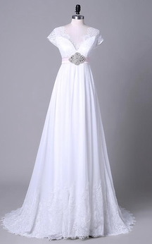 Tea-Length Off-The-Shoulder One-Shoulder V-Neck Beading Chiffon Lace Sequins Satin Dress