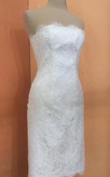 Sheath Strapless Short Lace Bridal Dress