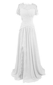Short Sleeve High Neck Long Pleated Chiffon Dress