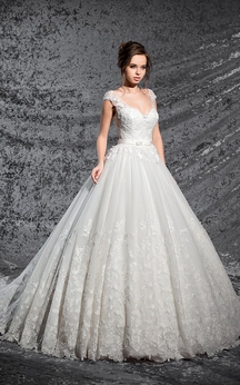 Ball Gown Floor-Length V-Neck Cap-Sleeve Corset-Back Lace Dress With Appliques And Pleats