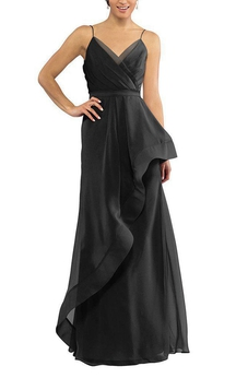 Spagetti Straps Ruched Chiffon Bridesmaid Dress with Drapping