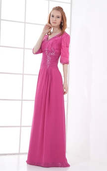 Elegant Maxi V Neck Half Length Sheath Special Occasion Dresses