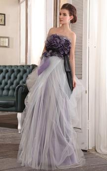 Elegant Strapless Floor-Length Dress With Floral Top