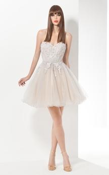 A-Line Short Sweetheart Sleeveless Tulle Beading Ruffles Backless Dress