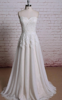 Sweetheart Lace and Tulle A-Line Dress With Pleated Skirt