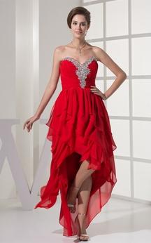 Sweetheart High-Low Jeweled Rhinestone and Dress With Ruffles
