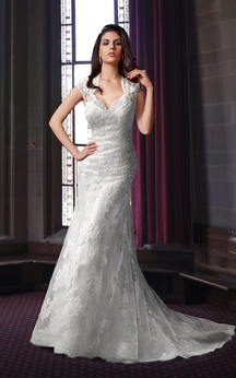 Floor Length Lace Wedding Dress With Keyhole Back