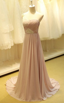 One-shoulder A-line Chiffon Dress with Beadings and Pleats