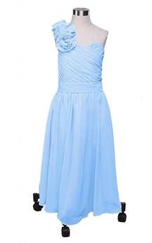One-shoulder A-line Dress With Flower and Criss Cross
