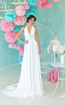A-Line Floor-Length Halter Sleeveless Empire Backless Chiffon Dress With Beading And Ruching