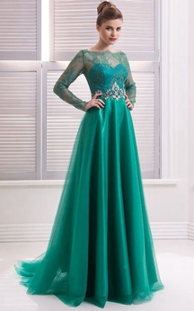 A-Line Floor-Length Sweep High-Neck Long Sleeve Tulle Beading Lace Zipper Dress