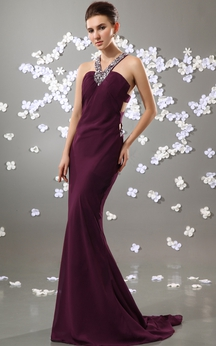 Sleeveless Chiffon Mermaid Dress With Beaded Strap and Brush Train