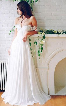 Beach Chiffon A line Floor Length Off-Shoulder Bridal Gown With Pleats