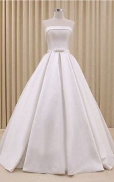 Strapless Princess Lace-up Wedding Dress With Ruching And Bow Delicated Belt