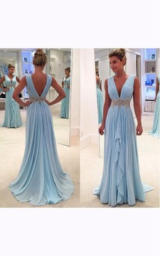 Sleeveless V-neck Long Chiffon Ruffled Dress with V-back