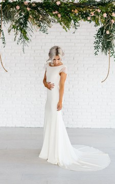 Bateau Neck Lace Cap Sleeve Column Gown With Deep-V Back