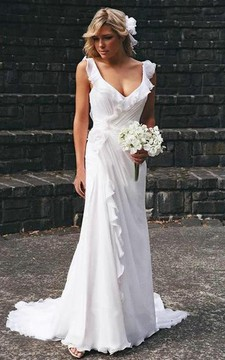 Elegant V-neck Chiffon Ruffles Sleeveless Wedding Dress Bridal Gowns