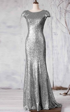 Bateau Cap Sleeve Allover Sequined Mermaid Long Dress Brush Train
