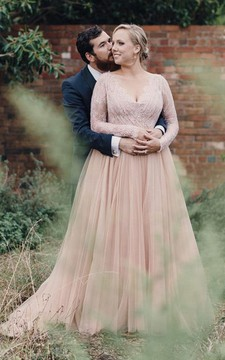 Plus Size Blush Long Sleeves Bling Sequins V Neck A Line Tulle Lace Bridal Gown