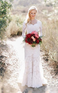 Lace Long Sleeve Country V-neck Elegant Garden Wedding Dresses