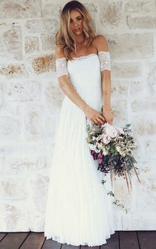 A-line Off-the-shoulder Short Sleeves Lace Boho Wedding Dress Wedding Dresses