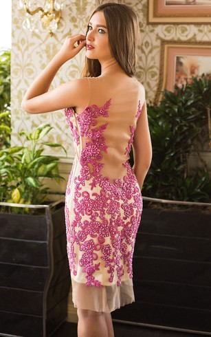 Sheath Short Bateau Sleeveless Lace Appliques Illusion Dress