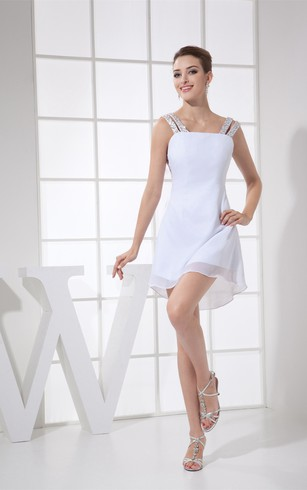 Chiffon A-Line Short Keyhole Back and Dress With Jeweled Straps