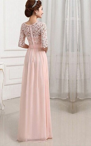 2017 Long Modest Bridesmaid Dresses With Half Sleeves Lilac A Line Floor Length Lace Chiffon