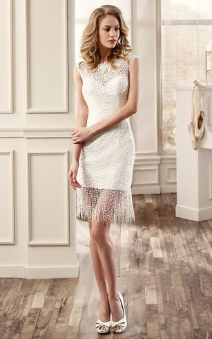 Short bridal dresses knee length simple casual wedding gowns jewel neck short wedding dress with draping decorations and illusive back junglespirit Images