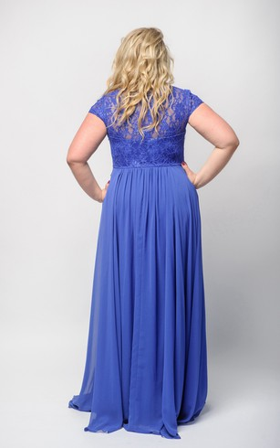 Empire Floor-Length Bateau Short Sleeve Empire Chiffon Lace Illusion Dress