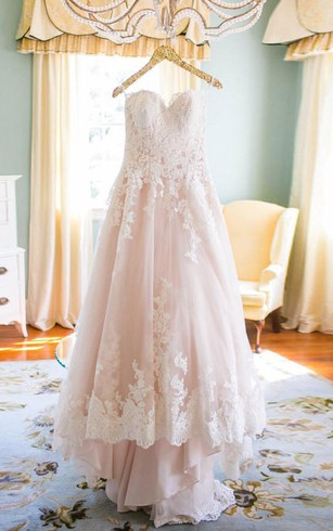 Blush color bridal dresses wedding gown with light pink dorris elegant sweetheart high low blush wedding dress with white lace junglespirit Image collections