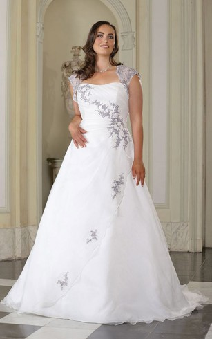 A Line Floor Length Queen Anne Satin Sweep Train Side Draping Dress ...
