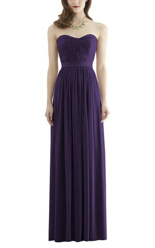 Simple Strapless Ruched Long Bridesmaid Dress