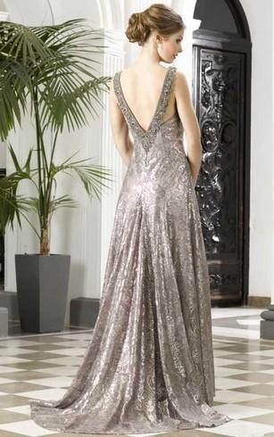 Sheath Sleeveless Bateau Beaded Long Prom Dress With Sequins And Low V Back