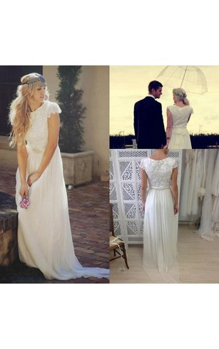 Casual wedding dresses for summer dorris wedding bateau neck cap sleeves pleated a line chiffon gown with lace junglespirit Images