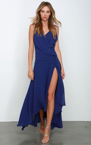 Chiffon High Low Sleeveless Dress With Side Split