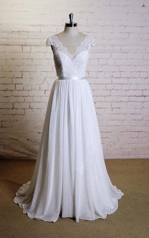 V-Neck A-Line Lace Cap Sleeve Chiffon Dress With Satin Sash and Lace Bodice