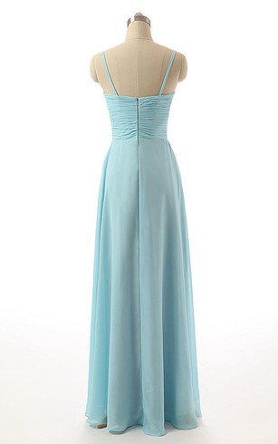 Sleeveless Spaghetti Straps Floor-length Chiffon Dress