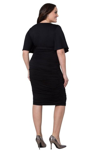 Short-sleeved V-neck Knee-length Ruched Dress
