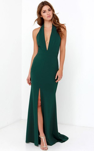 Halter Jersey Form T Gown With Front Split