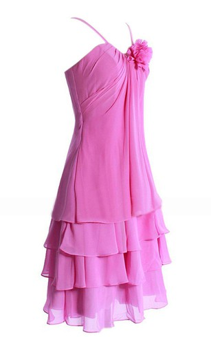 Sleeveless Short Tiered Chiffon Dress With Spaghetti Straps