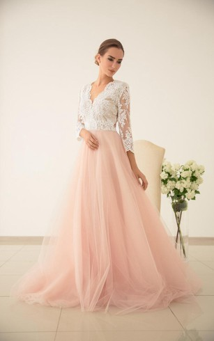 Tulle Wedding Pink Wedding Lace And Tulle Wedding Dres Wedding With Sleeved  Dress ...