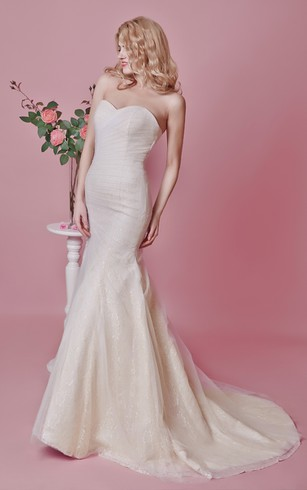 Backless Strapless Appliqued Mermaid Tulle Dress