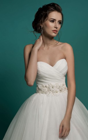 A-Line Long Sweetheart Sleeveless Lace-Up Organza Dress With Ruching