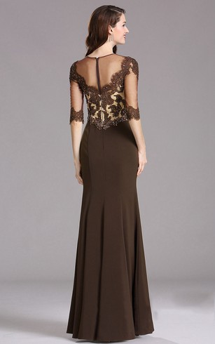 Sheath Floor-Length Bateau 3 Appliques Zipper Dress