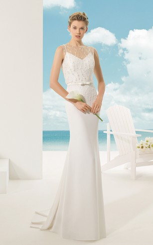 Illusion-Neck Back Sheath With Slim Belt And Beading