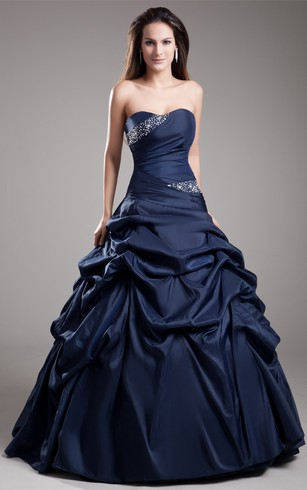 Sweetheart Pick-Up Satin Ball-Gown With Rhinestone