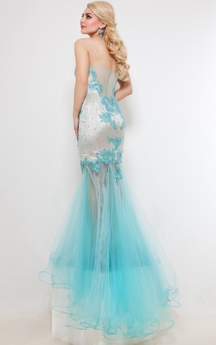 Mermaid Sweep Sweetheart Sleeveless Tulle Appliques Pleats Illusion Dress